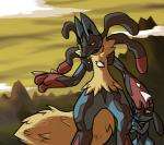 ambiguous_gender angry canine duo jackal lucario mammal mega_evolution mega_lucario nintendo pokémon protected red_eyes riolu scared video_games   Rating: Safe  Score: 8  User: qwerty30001  Date: January 03, 2014