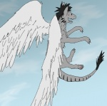 canine cloud cloudscape dragon feathered_wings feathers feral fur furred_dragon hybrid leo_kinoske leo_kinoske_(character) male mammal outside sky solo unknown_artist wings wolf