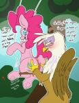 2014 anus avian beak blue_eyes blush brown_fur butt butt_grab cutie_mark dialogue duo earth_pony english_text equine eyelashes female feral friendship_is_magic fur gilda_(mlp) gryphon hair hand_on_butt hellticket hooves horse mammal my_little_pony outside pink_fur pink_hair pinkie_pie_(mlp) pony pussy swing text white_fur  Rating: Explicit Score: 39 User: lemongrab Date: August 23, 2014