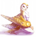 2010 ambiguous_gender anthro avian barn_owl beak bird chest_tuft claws digital_media_(artwork) feathered_wings feathers fur kneeling looking_at_viewer nude owl peritian red_eyes side_view simple_background smaller_version_at_source solo talons toe_claws tuft white_background wings yellow_feathers