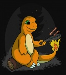 ambiguous_gender bacon charmander fire flaming_tail food green_eyes night nintendo outside pokémon semi-anthro solo star tojo_the_thief video_games