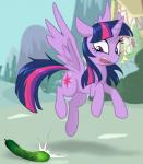 cucumber cutie_mark day detailed_background equine feathered_wings feathers female feral food friendship_is_magic hair hooves horn jumping mammal my_little_pony open_mouth outside purple_eyes purple_feathers purple_hair scared shocked sky solo startled surprise ta-na twilight_sparkle_(mlp) vegetable winged_unicorn wingsRating: SafeScore: 15User: MillcoreDate: June 10, 2017