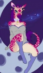 anthro bodysuit clothed clothing collar ear_piercing female giraffe looking_at_viewer mammal moon piercing pollo-chan sitting skinsuit solo space star  Rating: Safe Score: 32 User: Tauxiera Date: May 15, 2013