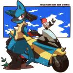 anthro blue_fur canine duo fletchinder fur lucario mammal motorcycle nintendo pokémon red_eyes semi-anthro tomica vehicle video_games yellow_fur