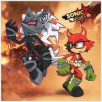 anthro big_ears canine claws clothing custom_character_(sonic_forces) cylent-nite demon english_text eyewear floating footwear fur glasses gloves green_eyes half-closed_eyes infinite_(sonic) looking_at_viewer looking_away machine male mammal nude open_mouth orange_eyes pointy_ears robot sharp_claws sharp_teeth shoes sonic_(series) sonic_forces standing teeth text tongue video_games walking wolf