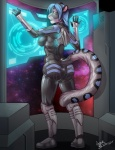 2015 angrboda anthro blue_hair clothed clothing feline female fur grey_fur hair leopard mammal plantigrade solo space suit  Rating: Safe Score: 17 User: Arkham_Horror Date: October 29, 2015