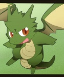 2012 ambiguous_gender blush dragon feral green_theme horn letterboxed looking_at_viewer open_mouth satsuki_rabbit scalie smile solo wings  Rating: Safe Score: 10 User: Galaco Date: May 15, 2012