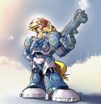 2015 armor blonde_hair blue_eyes cloud equestria_girls equine female gsphere gun hair hand_on_hip hi_res horn mammal my_little_pony outside power_armor ranged_weapon red_hair sky smoke solo starcraft sunset_shimmer_(eg) unicorn weapon  Rating: Safe Score: 4 User: 2DUK Date: March 07, 2015""