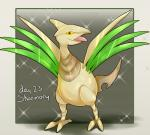 ambiguous_gender avian bird clue_(artist) feral metallic_body nintendo pokémon pokémon_(species) shiny_pokémon skarmory solo tongue tongue_out video_games wings