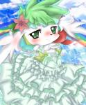 """anthro blush clothed clothing dress female fur green_eyes green_hair hair legendary_pokémon looking_at_viewer mammal nintendo pokémon shaymin solo standing uro_99 video_games うろ  Rating: Safe Score: 2 User: voldosbt Date: August 10, 2014"""""""