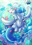 2016 blue_eyes blue_hair blue_skin bubble chinchou dashinoya detailed_background feral fin group hair hair_ornament happy luvdisc marine nintendo pink_nose pokémon primarina solo_focus starfish swimming underwater video_games water white_skin