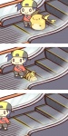 :3 :> baseball_cap blue_hair chibi comic escalator gold_(pokemon) hair hat male mouse nintendo o_o pokémon raichu rairai-no26-chu rodent standing video_games   Rating: Safe  Score: 9  User: AnacondaRifle  Date: June 27, 2013