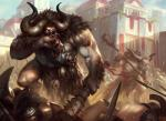 abs anthro armor biceps big_muscles blood city cityscape clothing club daarken duo fur horn loincloth magic_the_gathering male minotaur muscles nipples official_art pecs polearm skull solo_focus standing step_pose toned vein weapon   Rating: Safe  Score: 0  User: Circeus  Date: December 16, 2014
