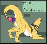 all_fours ampharos ass_up backlash91 barefoot black_eyes claws conditional_dnp dildo english_text female feral green_background hi_res looking_back masturbation nintendo nude number open_mouth orb penetration pokémon pussy reptile scalie sex_toy sharp_teeth simple_background solo teeth text toe_claws tongue tongue_out toying_self vaginal vaginal_masturbation vaginal_penetration video_games yellow_skinRating: ExplicitScore: 17User: WiiFitTrainerDate: October 23, 2013
