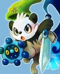 bear black_eyes black_fur bronzor child cute digital_media_(artwork) feral fur hat haychel honedge male mammal melee_weapon nintendo orange_eyes pancham panda pokémon shield solo sword video_games weapon white_fur young
