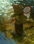 4_toes akitamonster anthro blue_eyes cat clothed clothing day detailed_background digitigrade feline male mammal net outside partially_submerged smile standing toes topless waterRating: SafeScore: 2User: MillcoreDate: April 27, 2017