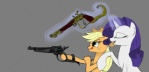 2012 applejack_(mlp) blonde_hair cowboy_hat duo equine eyes_closed female feral freckles friendship_is_magic green_eyes gun hair hat holding holding_weapon horn horse levitation madhotaru magic mammal my_little_pony pistol pony purple_hair ranged_weapon rarity_(mlp) unicorn weapon   Rating: Safe  Score: 13  User: Falord  Date: September 30, 2012