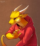 2013 brown_background claws clothed clothing dragon falvie fangs hoodie horn male plain_background pointy_ears reptile scalie simple_background solo yellow_body yellow_eyes yellow_scales   Rating: Safe  Score: 49  User: slyroon  Date: January 28, 2013