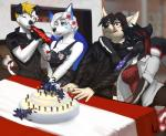 5_fingers angiewolf anthro black_hair blonde_hair breasts brown_hair canine cat cleavage clothed clothing detailed_background dog dress eyebrows eyelashes eyes_closed feline female fire fox group hair heterochromia male mammal one_eye_closed smile