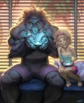 anthro bed biceps black_fur canine caprine clothed clothing detailed detailed_background duo female front_view fur gaming inside looking_at_viewer lost-tyrant male mammal muscles on_bed pillow playing_videogame sheep sheepuppy size_difference video_games were werewolf wolf wool  Rating: Safe Score: 28 User: Krona Date: June 20, 2012