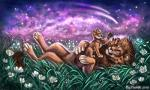 2018 brown_fur claws digital_media_(artwork) duo feline feral flashw fur lion lying male mammal night on_back outside sky smile star starry_sky yellow_eyes young