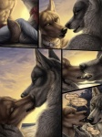 amon anthro canine clothed clothing collar comic dialogue drama duo jackal kissing luther male male/male mammal outside red_lantern_the_crimson_divine rukis text topless wolf  Rating: Questionable Score: 25 User: furryanon Date: August 14, 2013