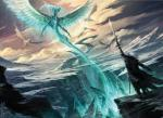 cloud dragon feathered_wings feathers flying magic magic_the_gathering mountain official_art oustide planeswalker proper_art raymond_swanland scalie sky snow sorin sword ugin vampire weapon wings   Rating: Safe  Score: 4  User: Shardshatter  Date: March 30, 2015