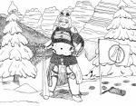 2016 anthro armor belly belt big_belly chainmail feline female flag forest lake laya_eaterik leopard mammal melee_weapon monochrome navel panzerschreckleopard russian slavic snow snow_leopard sword tree weapon  Rating: Safe Score: -1 User: PanzerLeopard Date: January 19, 2016