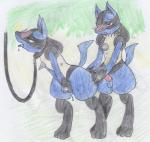 absurd_res anthro black_fur blue_fur blush canine duo female fur hi_res iceeat leash lucario male mammal nintendo penis pokémon sweat traditional_media_(artwork) video_games yellow_fur  Rating: Explicit Score: 8 User: Iceeat Date: June 30, 2015