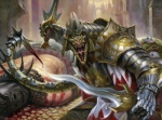 anthro armor blood chain charging city cityscape corpse death dual_wielding holding_object holding_weapon lizard looking_at_viewer magic_the_gathering male matt_stewart melee_weapon official_art outside reptile scalie sharp_teeth snarling soldier solo spikes sword teeth viashino weapon