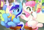 2017 beverage cellphone colgate_(mlp) cutie_mark drinking duo equine eyelashes female feral friendship_is_magic glowing hair hi_res hooves horn magic mammal marenlicious multicolored_hair multicolored_tail my_little_pony open_mouth open_smile phone pink_hair sitting smile telekinesis twinkleshine_(mlp) two_tone_hair underhoof unicorn