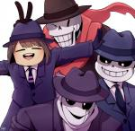 bone child clothed clothing fedora gaster gloves hair hat hi_res human kiatokid male mammal monster necktie not_furry one_eye_closed papyrus_(undertale) protagonist_(undertale) sans_(undertale) scarf skeleton smile suit undead undermafia undertale video_games wink young  Rating: Safe Score: 11 User: General_Oblitus Date: February 03, 2016