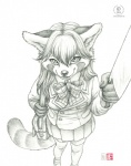 2015 anthro bow breasts clothed clothing dress evil female foreshortening high-angle_shot kacey knife legwear mammal monochrome pencil_(artwork) purse red_panda schoolgirl skimpy solo stockings traditional_media_(artwork) yandere young   Rating: Safe  Score: 16  User: Wadxxx  Date: January 08, 2015