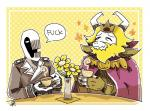 adsnk anthro asgore_dreemurr beard beverage boss_monster cape caprine clothed clothing crown cup dedan_(off) duo english_text eyes_closed facial_hair flower fully_clothed goat half-closed_eyes holding_cup horn humanoid male mammal monster monstrous_humanoid off_(game) pale_skin plant plate profanity simple_background table tea tea_cup tea_party teeth text trenchcoat undertale video_games