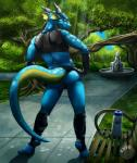2013 anthro athletic backsack balls bench blue_scales butt claws clothed clothing day detailed_background digital_media_(artwork) digitigrade dragon exto fountain furgonomics gloves grass hand_on_hip hands_on_hips hi_res inviting leaves leg_warmers legwear looking_at_viewer looking_back male multicolored_scales orange_eyes outside park partially_clothed pose presenting presenting_hindquarters raised_tail rear_view rubber scales scalie shirt sky solo standing stripes toe_claws tree two_tone_scales underwear water yellow_scales yellow_stripes zennith  Rating: Questionable Score: 30 User: Strongbird Date: April 22, 2016