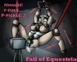 2015 airhead anthro bdsm blue_eyes bondage bound breasts cervine clexyoshi dialogue dildo english_text fall_of_equestria fan_character female fucking_machine machine mammal my_little_pony nipples nude penetration pussy reindeer sex_toy solo suspension tears text vaginal vaginal_insertion vaginal_penetration  Rating: Explicit Score: 1 User: 2DUK Date: November 04, 2015