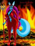 absurd_res breasts demon female fur hair hi_res horn jessica mammal melee_weapon polearm rubber solo suit toes trident weapon  Rating: Questionable Score: 1 User: Seeka Date: April 23, 2016
