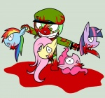 abuse anthro blood clothed clothing death earth_pony equine flippy fluttershy_(mlp) friendship_is_magic gore happy_tree_friends horse knife mammal my_little_pony pinkie_pie_(mlp) plain_background pony rainbow_dash_(mlp) twilight_sparkle_(mlp) unknown_artist weapon white_background  Rating: Explicit Score: -10 User: YLYL Date: June 14, 2015""