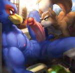 anthro avian ball_fondling balls bird canine city duo erection falco_lombardi fellatio fondling fox fox_mccloud macro male male/male mammal nintendo oral penis sex star_fox tatsumichi tongue tongue_out video_games