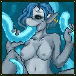 alesia animated anthro blue_eyes blue_hair breasts consentacles cum cum_in_mouth cum_inside digital_media_(artwork) ear_piercing female fish hair lacerators low_res marine nipples nude oral piercing pixel_(artwork) pulsing shark solo tentacles  Rating: Explicit Score: 31 User: SaimonPSmith Date: November 08, 2015