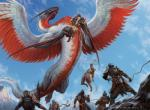 armor claws cloudscape dragon falling feather feathered_wings flying group human low-angle_shot mammal mountain ojutai size_difference sky soldier solo_focus spread_wings standing wings zack_stella   Rating: Safe  Score: 0  User: Circeus  Date: April 02, 2015