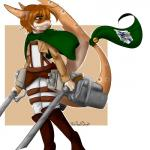 absurd_res anime anthro attack_on_titan bell belt boots cape clothed clothing female finn_(theredghost) fish flag footwear freckles hair hi_res leather marine melee_weapon red_hair shark simple_background smile solo spots sword theredghost weapon yellow_eyes  Rating: Safe Score: 1 User: TheRedGhost Date: February 19, 2016