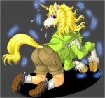 anthro clothed clothing edmol equine female footwear hooves horn human mammal pants purple_eyes shirt shoes shorts socks solo tongue tongue_out transformation underhoof unicorn   Rating: Safe  Score: 0  User: PheagleAdler  Date: March 20, 2012