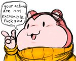 4_fingers 5:4 angry anthro clothing cricetid english_text filthyopossum fingers fur hamster hi_res male mammal peepoodo pink_body pink_fur profanity reaction_image rodent simple_background sketchy smile solo speech_bubble super_fuck_friends sweater text topwear turtleneck white_background