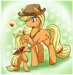 2015 <3 applejack_(mlp) blonde_hair blush cute cutie_mark daughter duo earth_pony equine female feral friendship_is_magic hair hand_on_head hat horse mammal mother mother_and_daughter my_little_pony open_mouth parent pony scar simple_background smile vavacung young  Rating: Safe Score: 8 User: Robinebra Date: August 12, 2015
