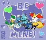 <3 anthro arrow_through_heart braixen brionne canine cute dewott fangs flora_fauna group hi_res holidays humor kodiwolfy mammal marine mustelid nintendo pinniped plant pokémon pokémon_(species) pseudo_clothing purple_background red_eyes reptile scalie servine simple_background strangling tongue valentine's_day video_games vine_whip