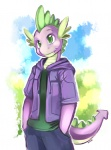 2012 clothing dragon ende fangs friendship_is_magic green_eyes hoodie male my_little_pony purple_scales scalie solo spike_(mlp)   Rating: Safe  Score: 35  User: skykid  Date: October 08, 2012