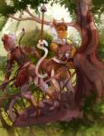 armor arrow bow_(weapon) brown_skin female fur grey_fur male mammal melee_weapon monkey polearm prehensile_tail primate ranged_weapon spear tree vala weapon yellow_eyes zero-sumRating: SafeScore: 0User: vladspellbinderDate: January 24, 2018