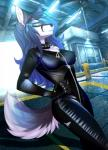 2014 aimi anthro blue_eyes bodysuit canine clothed clothing female fox glowing glowing_eyes hair hi_res inside mammal rubber skinsuit smile solo suit tight_clothing zipper  Rating: Safe Score: 41 User: Numeroth Date: November 25, 2014