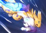 ambiguous_gender anthro black_sclera blue_eyes claws clothing digimon elbow_gloves gloves open_mouth renamon solo waddledox  Rating: Safe Score: 23 User: chdgs Date: August 13, 2015